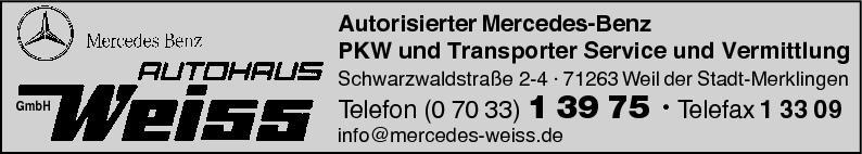 Anzeige Autohaus Weiss GmbH