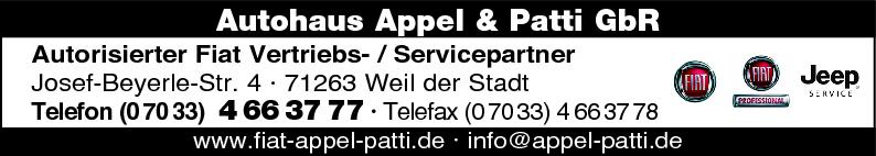 Anzeige Fiat Autohaus Appel & Patti GbR