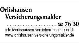 Anzeige Orlishausen Versicherungsmakler