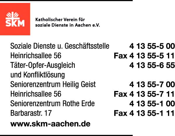 Anzeige SKM - Katholischer Verein für soziale Dienste in Aachen e.V.