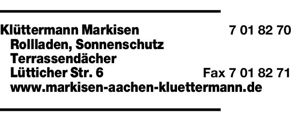 Anzeige Klüttermann Markisen, Rollladen, Sonnenschutz, Terrassendächer