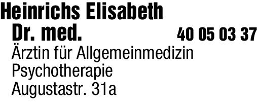 Anzeige Heinrichs Elisabeth Dr. med. Ärztin für Allgemeinmedizin