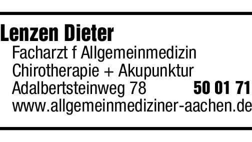 Anzeige Lenzen Dieter
