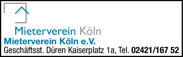 Anzeige Mieterverein Köln e.V. Geschäftsstelle Düren
