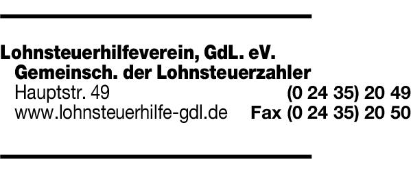 Anzeige Lohnsteuerhilfeverein Gemeinschaft der Lohnsteuerzahler-Gdl-e.V.