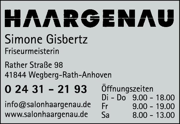 Anzeige HAAR GENAU Simone Gisbertz