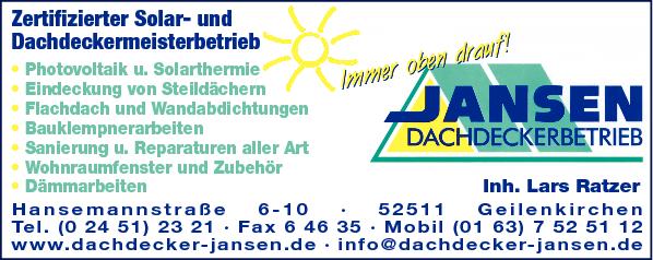 Anzeige Jansen GmbH Bedachungen