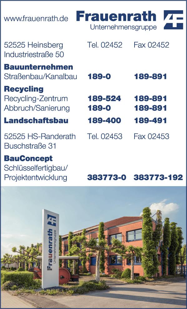 Anzeige A. Frauenrath Bauunternehmen GmbH