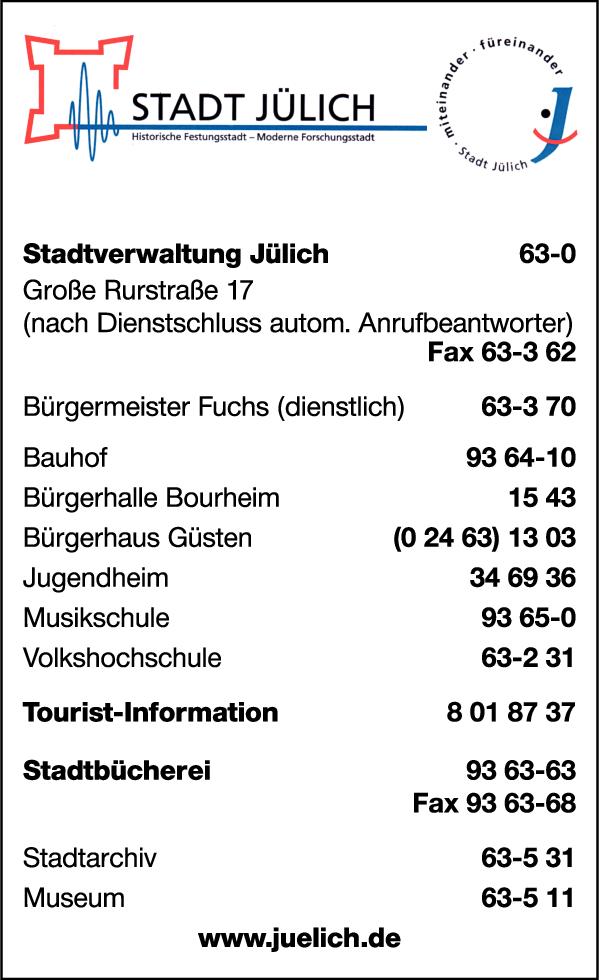 Anzeige Stadtverwaltung Jülich