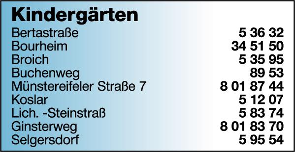 Anzeige Stadtverwaltung Jülich Kindergärten