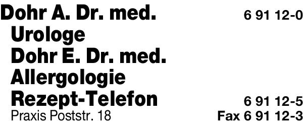 Anzeige Dohr A. Dr.med. Urologe , E. Dr.med. Allergologie Praxis