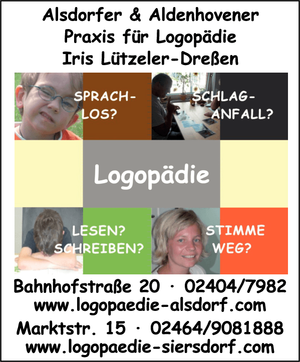 Anzeige Alsdorfer Praxis für Logopädie Iris Lützeler-Dreßen