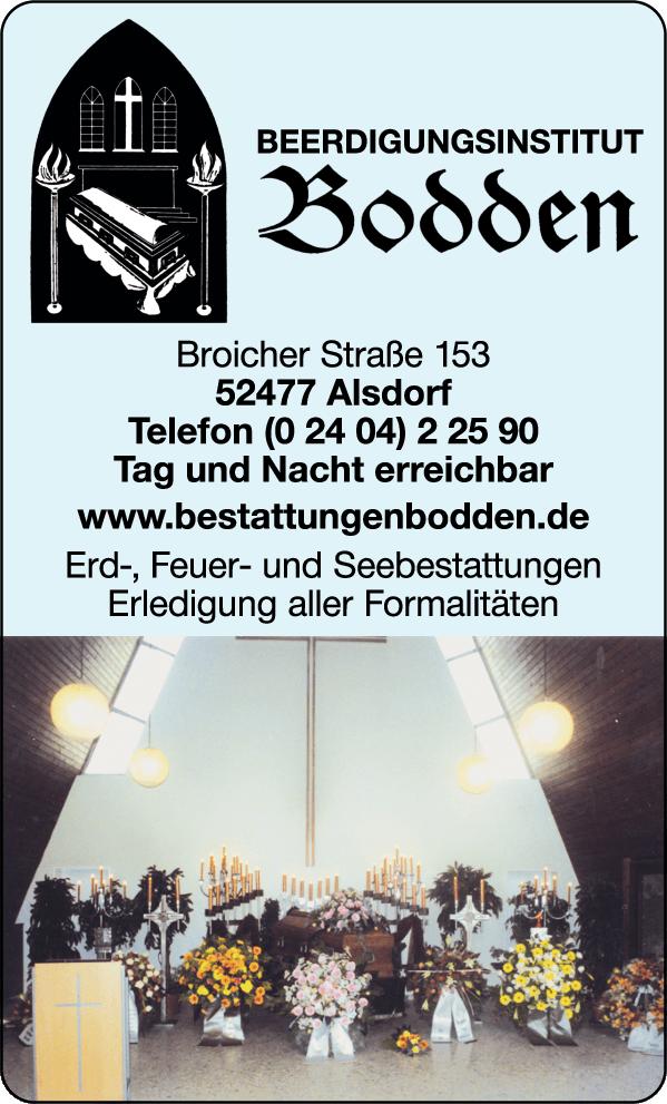 Anzeige Bodden Matthias Berdigungsinstitut