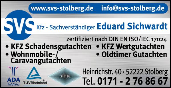 Anzeige SVS Eduard Sichwardt Kfz-Sachverständiger