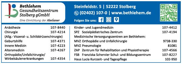 Anzeige Bethlehem Gesundheitszentrum Stolberg gGmbH
