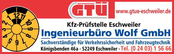 Anzeige Ing. Büro Wolf Kfz Prüfstelle Eschweiler