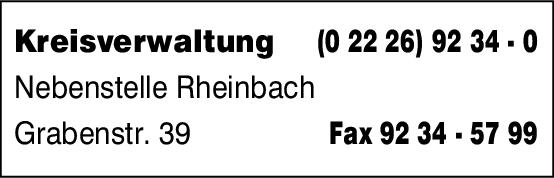 Anzeige Kreisverwaltung Rhein-Sieg-Kreis , Nebenstelle Rheinbach