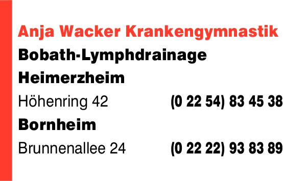 Anzeige Wacker Anja Praxis für Physiotherapie
