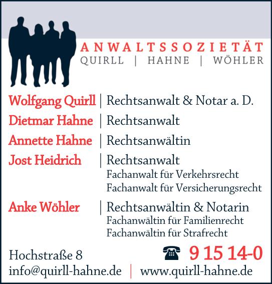 Anzeige Quirll Wolfgang, Hahne Dietmar, Hahne Annette, Anke Wöhler u. Heidrich Jost Rechtsanwälte u. Notare