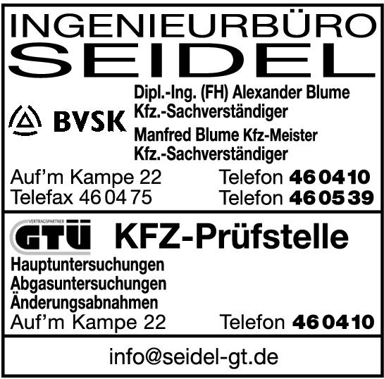Anzeige Seidel Ingenieurbüro GTÜ Kfz-Prüfstelle