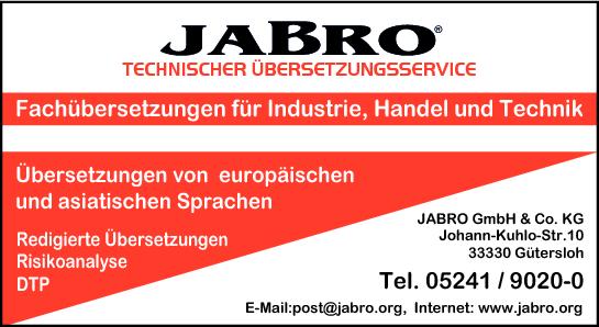 Anzeige Jabro GmbH & Co. KG Technischer Übersetzungsservice