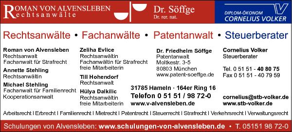 Anzeige Alvensleben v. Roman Rechtsanwalt, Fachanwalt für Strafrecht u. Stehling Annette Rechtsanwältin u. Söffge Friedhelm Dr. Patentanwalt
