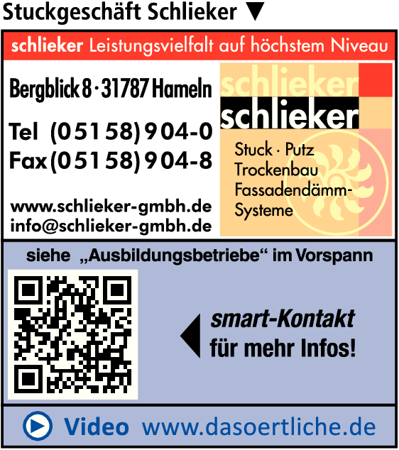Anzeige Stuckgeschäft Schlieker GmbH