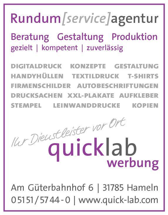 Anzeige Quick Lab Werbezentrum GmbH