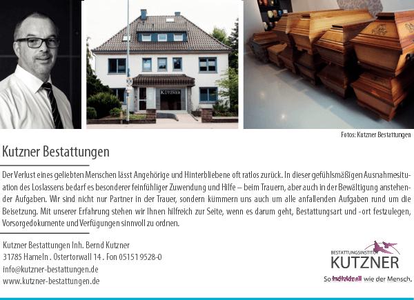 Anzeige Bestattungsinstitut Kutzner Inh. Bernd Kutzner