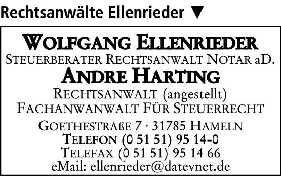 Anzeige Ellenrieder Wolfgang Steuerberater Rechtsanwalt und Notar