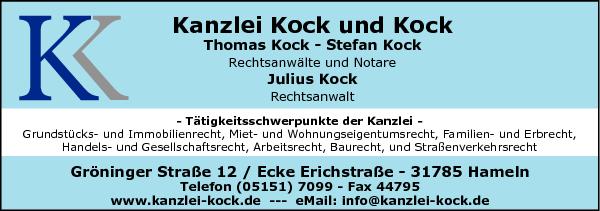 Anzeige Kock und Kock Thomas Kock - Stefan Kock Rechtsanwälte und Notare