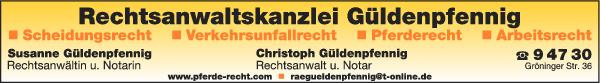 Anzeige Güldenpfennig Susanne u. Christoph Rechtsanwälte u. Notare