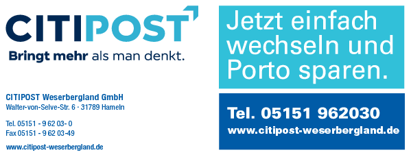 Anzeige CITIPOST Weserbergland GmbH