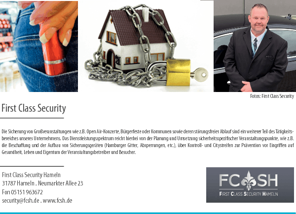 Anzeige First Class Security Hameln Oliver Robertson First Class Security