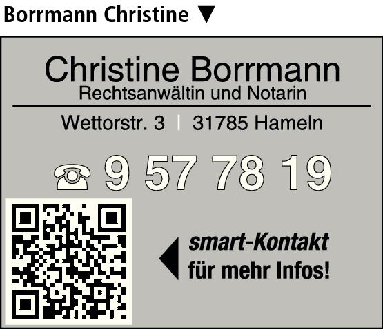 Anzeige Borrmann Christine Rechtsanwältin und Notarin
