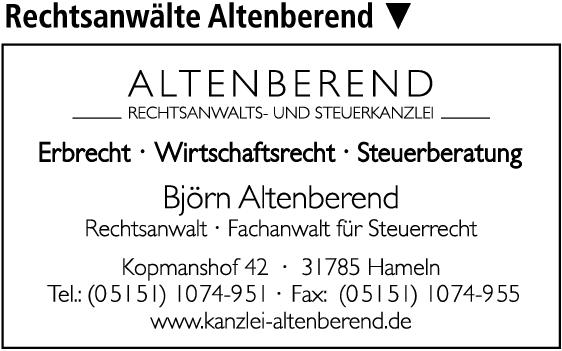 Anzeige Altenberend - Rechtsanwalts- und Steuerberatungskanzlei - Fachanwalt für Steuerrecht