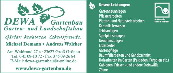 Anzeige DEWA Gartenbau