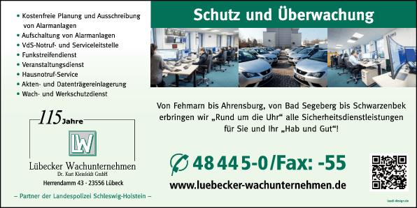 Anzeige Lübecker Wachunternehmen Dr. Kurt Kleinfeldt GmbH Partner der Landespolizei S-H