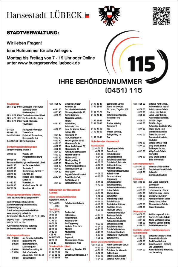 Anzeige Stadtverwaltung Hansestadt Lübeck