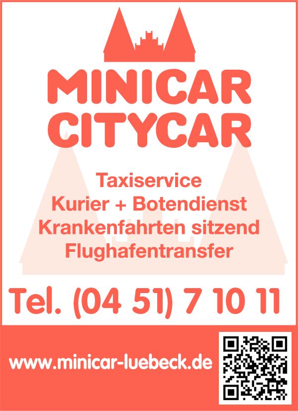Anzeige Lübecker Minicar u. Citycar Funkzentrale GmbH Taxiservice