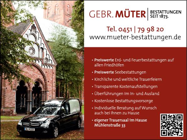 Anzeige Gebrüder Müter Bestattungsinstitut