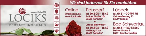 Anzeige Bestattungshaus Lociks