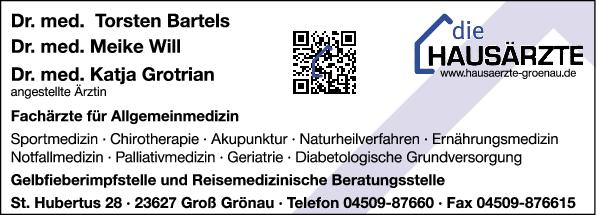 Anzeige Will Meike Dr.med. , Bartels Torsten Dr.med. , Grotian Katja Dr.med. Fachärzte für Allgemeinmedizin