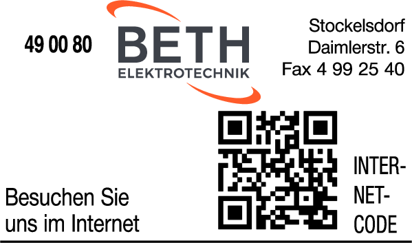 Anzeige Beth Elektrotechnik GmbH