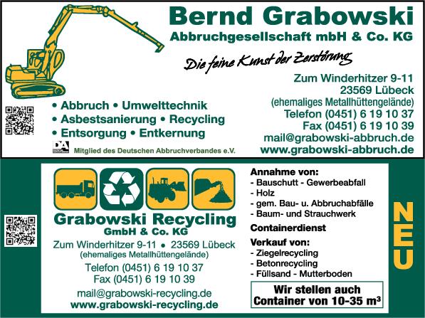 Anzeige Grabowski, Bernd Abbruchges. mbH und Co. KG