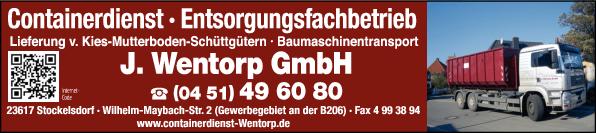 Anzeige Containerdienst + Recyclinghof J. Wentorp GmbH