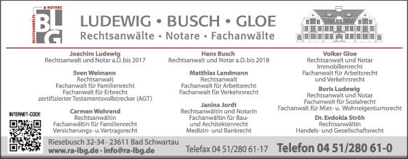 Anzeige Ludewig Busch Gloe Rechtsanwälte Notare Fachanwälte