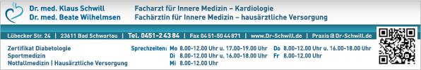Anzeige Schwill Klaus Dr.med. Facharzt für Innere Medizin u. Kardiologie Praxis