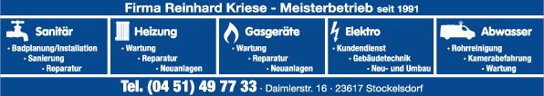 Anzeige Kriese Reinhard Gas- und Wasserinstallateurmeister