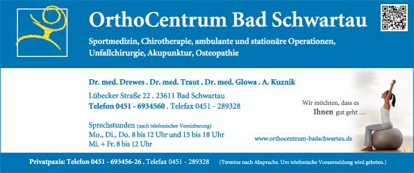 Anzeige OrthoCentrum Bad Schwartau Paul , Drewes , Traut Dres.med. Ärzte für Orthopädie und Sportmedizin